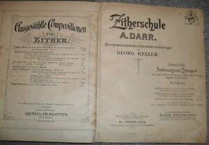 Notenbuch - Zither - 4 Bücher Schule + Auf der Alm + Marschieren + Melodien