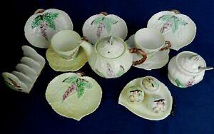 Vintage Carlton Ware Yellow Foxglove Teapot Trio Toast Rack Condiments Jam Pot