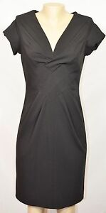 KENSIE PRETTY Black Cap Sleeved Dress Medium Folded Accent at Bodice Unlined