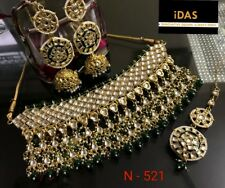 Indian Kundan Jewelry High Quality Choker Necklace Earrings Tikka Set Green ES2