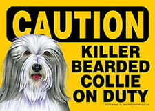 Funny Dog Sign Caution Killer Bearded Collie on Duty Magnet