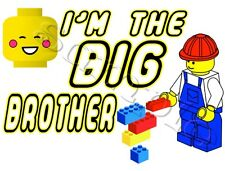 IRON ON TRANSFER I'M THE BIG BROTHER LEGO 14x10cm blocks building