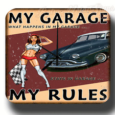 GARAGE RULES PIN UP GIRL VINTAGE RETRO  METAL TIN SIGN WALL CLOCK