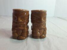 Set of 2 Hawaiian Tiki Man Salt and Pepper Shakers - Small Brown Glass Tiki
