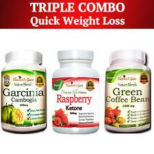 TRIPLE COMBO GARCINIA CAMBOGIA GREEN COFFEE BEAN RASPBERRY KETONE 100% PURE