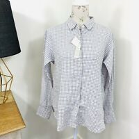 Uniqlo Linen Shirt Check White Grey Long Sleeve Button Front Size M fit 10 - 14
