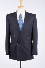 Mens Navy Blue Blazer 38 R Double Breasted by LUBIAM Logo Buttons Unvented