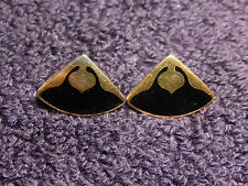 "VTG signed Laurel Burch 22k Gold Enameled BLACK ""MOROCCAN"" Post Earrings"