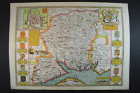 Vintage decorative sheet map of Hantshire Hampshire John Speede 1610 town plan