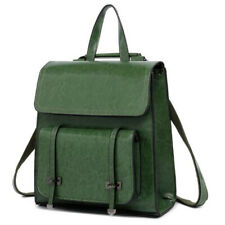 Women Backpack Travel Genuine Leather Shoulder School Bag Handbag Rucksack Green