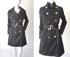 CHARLIE BROWN  Zip Front Black Trench Coat  Size 8 US 4