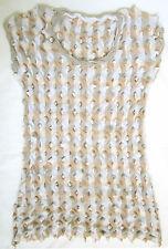 ISSEY MIYAKE HAAT white grey beige textured cotton knit top Japan sz 2 EUC