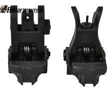 Tactical Folding Front & Rear Set Flip Up Backup Sights BUIS 20m rail Black