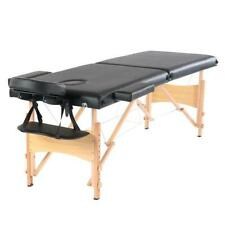 "84"" 2 Sections Folding Portable Beech Leg Beauty Massage Table 60Cm Wide Black"