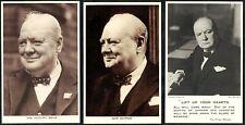 POSTCARDS, WWII, MILITARY & POLITICAL, WINSTON CHURCHILL, THREE ITEMS.