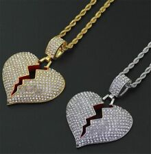 Broken Heart Pendant 24 Inch Twisted Rope Chain Necklace Cubic Zirconia Crystals
