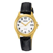 Seiko Solar Women's White Dial Gold-Tone Bezel Black Leather Watch SUT254