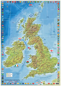 Map Of United kingdom and Ireland With County Flags