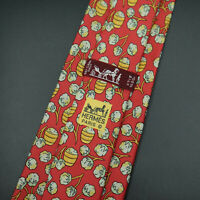 Hermes Paris Made In France Red Floral Pattern Silk Tie 7496 IA