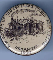 Early 1900s PICNIC Association pinback NW CUSTER Co Old Settlers LOG CABIN pin