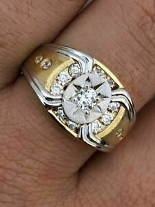 Men 14k Gold & Real Solid 925 Silver Super Iced Star Ring Size Man Made Diamond