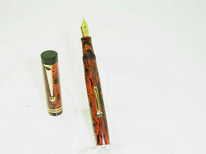 EXCELLENT French PSF Red Mottled Hard Rubber Fountain Pen FLEXY 18ct M Nib