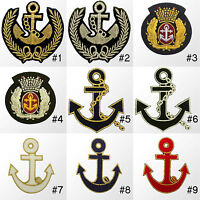 #155R Royal Navy Crest Crown Anchor Craft Embroidered Sew Iron On Patch Badge