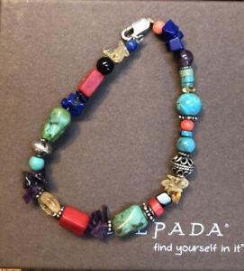 "Silpada B0988 Bracelet 7 1/4 "" Turquoise Amethyst Red Coral Citrine RARE VINTAGE"