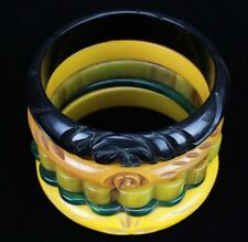 LOT 5 Carved Yellow Spinach Green Black Bakelite Art Deco Womens Bangle Bracelet