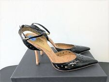 GUESS GWClesa Strappy Pumps Shoes Black Patent Leather w/ Ankle Strap Sz 7 1/2