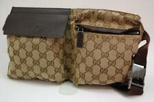 Auth Gucci GG Canvas Monogram Waist Belt Bum Bag Fanny Pack Brown 1023a