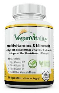 Vegan Multivitamin for Vegans & Vegetarians 180 Vitamin Tablets 6 Months Supply