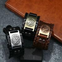 Vintage Punk Viking Totem Wide Leather Bracelets Bangles Jewelry Gifts For Men