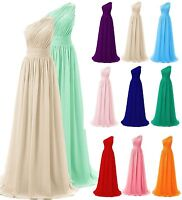 Stock Long One Shoulder Bridesmaid Dress Chiffon Wedding Party Evening Prom Gown