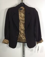 "AGB Black Leopard Career Jacket professional looking Blazer Petite 28-30"" bust"