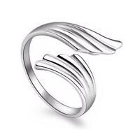 Einstellbar Öffnen Engel Flügel Feder Ring Daumen Vogel Damen