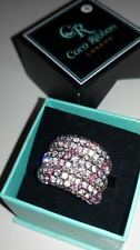 COCO RIBBON London Designer Cocktail Ring with Diamante Crystals UK Size K.Boxed