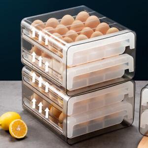 Egg Storage Box Holder Organizer Kitchen Rectangular Refrigerator Double Drawer