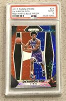 De 'Aaron Fox 2017-18 Panini Prizm Prizms Red White and Blue Rookie PSA 9 Mint