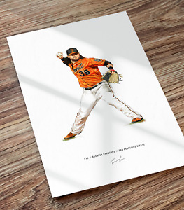 Brandon Crawford San Francisco Giants Baseball Illustrated Print Poster Art