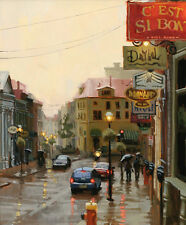 "Canvas Print Oil Painting Picture Rainy street Cityscape on canvas 16""x20"" L222"