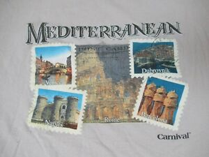CARNIVAL CRUISE LINES MEDITERRANEAN ROME VENICE TAN BEIGE MEDIUM T-SHIRT D1569