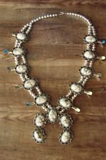 Navajo Jewelry Howlite Squash Blossom Necklace by Jackie Cleveland