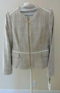 Calvin Klein Tweed Zip Front Blazer Jacket Womens Petite Size 8P Beige $139