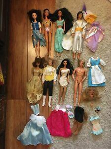 Vintage Mattel Disney Princess & Princes Doll Lot - Jasmine, Belle, Pocahontas