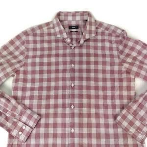 Boss Hugo Boss Men's Slim Fit Burgundy Plaid Long Sleeve Dress Shirt Size 17 1/2