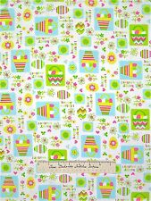 Easter Fabric - Spring Fling Easter Eggs & Flower Patch Green Yellow Blue White