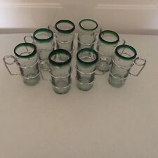 Mexican Hand Blown Glasses With Metal Handle Green Rim Set Of Eight Hot Beverage