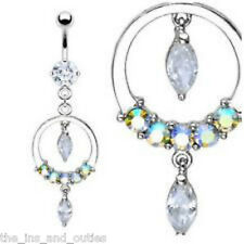 Circle Dangle CZ Clear & AB Gem Belly Ring Navel (w92)
