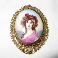 Antique 14K Gold Brooch Pin Pendant Queen Louise Portrait Porcelain  Hallmarked